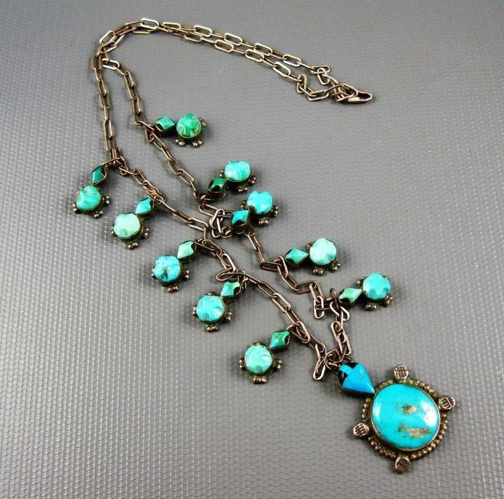 Old Zuni Sterling Hand Carved Turquoise Turtles Squash Blossom Necklace Signed