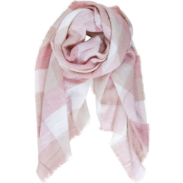 Humble Chic NY Plaid Blanket Scarf ($38) ❤ liked on Polyvore featuring accessories, scarves, pink, knit shawl, wrap shawl, tartan plaid scarves, pink scarves and tartan shawl