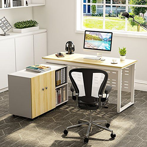Tribesigns 55 Computer Desk With File Storage Cabinet