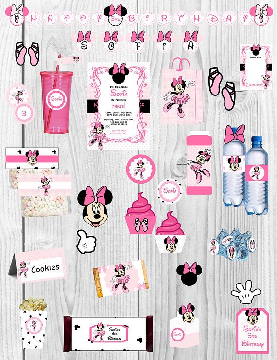 Minnie Mouse Birthday Party  Thank you for browsing my shop!  This listing is for a PRINTABLE digital file for printing at home or uploading to a professional printer - NO physical item will be shipped out. (All items will be sent on 8 1/2 x 11 files.)  A la carte items are available! Please ask me about it!  Please check shop announcement for current turn around time on personalized items.  -------------------------------------------------------------------------------------------------...