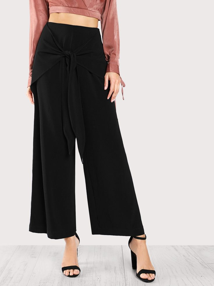 Shop Front Tie Chiffon Pants BLACK online. SheIn offers Front Tie Chiffon Pants BLACK & more to fit your fashionable needs.