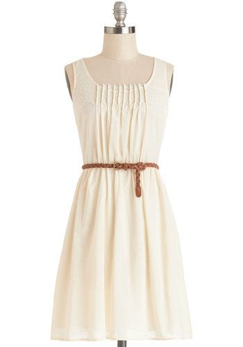Rules of Strum Dress - Cream, Solid, Lace, Pleats, Belted, Casual, A-line, Sleeveless, Good, Scoop, Cotton, Mid-length, Festival