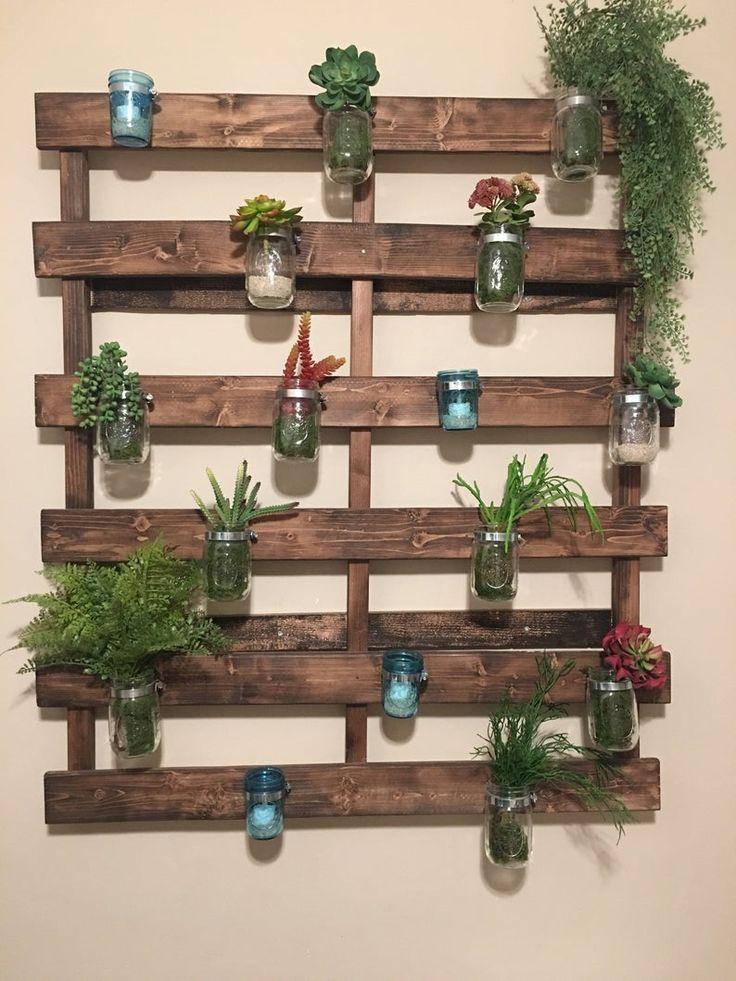 wood pallet mason jar hanging garden garden wall decor on indoor herb garden diy wall mason jars id=33484