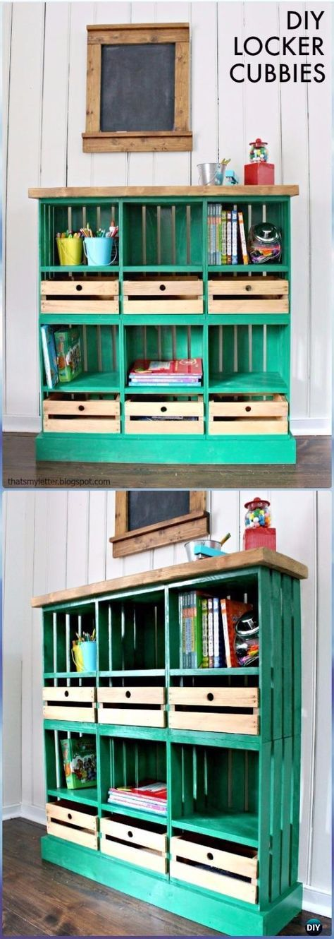 DIY Wood Crate Locker Cubbies Instructions - DIY Wood Crate Furniture Ideas Projects
