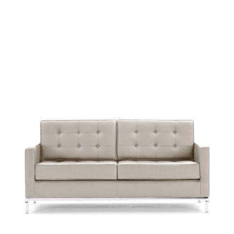 Ivory Leather Florence Knoll 2 Seat Sofa A