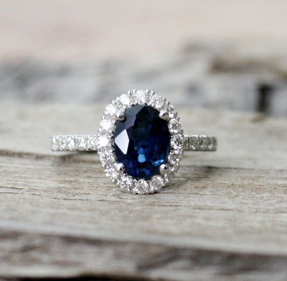 2.11 Cts. Oval Cornflower Blue Sapphire Diamond  Engagement Halo Ring in 14K Solid Gold on Etsy, £1,733.15
