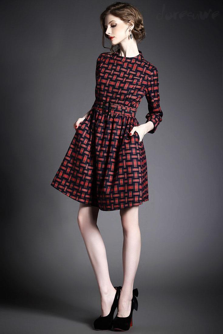 Doresuwe.com SUPPLIES ヨーロッパ2015秋新レディースファッション 気質セレブ七分Aーラインワンピース デートワンピース (7)