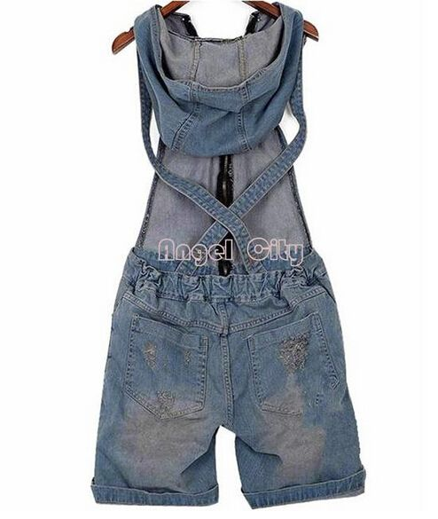 2016 Hole Denim Overalls Women's Jean Jumpsuits Short Pants Washed Jeans Denim Casual Rompers 4 Sizes