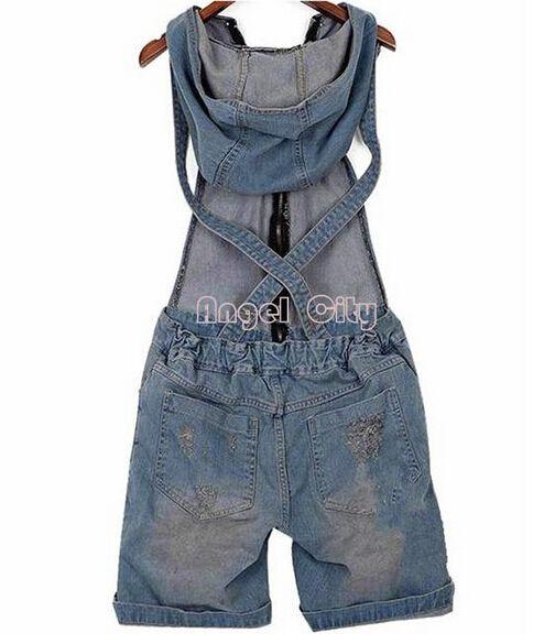 2016 Agujero Jean Buzos Overol de Mezclilla de Las Mujeres Pantalones Cortos Vaqueros Lavados Denim Casual Mamelucos 4 Tamaños