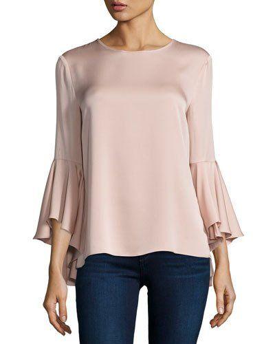 3/4-Bell-Sleeve Stretch-Silk Blouse, Light Pink