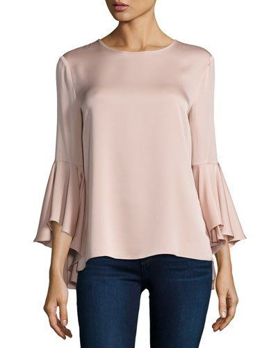 TQ444 Milly 3/4-Bell-Sleeve Stretch-Silk Blouse, Light Pink