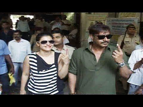 Ajay Devgan and Kajol cast their votes for Lok Sabha Election 2014.
