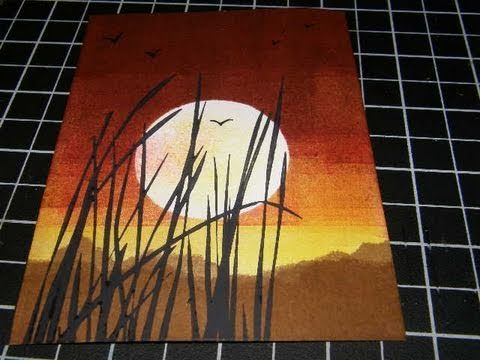 Brayer Sunset Technique using Stampin Up Inspired by Nature