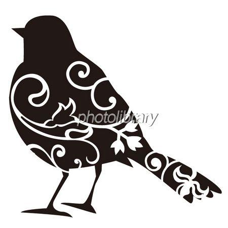 鳥シルエット黒-写真素材