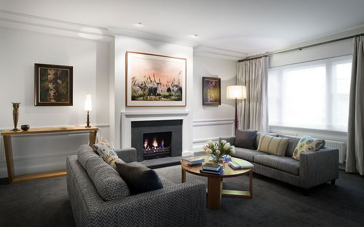 LOUNGE ROOM | A town residence in Melbourne with classic lines and a crisp off-white interior required an injection of bold colours and textures with new furnishings and artworks | Susie Miles Design