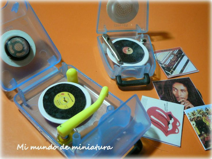 Great repurposing of tape dispenser and other bits of plastic for DIY miniature modern record player - great inspiration