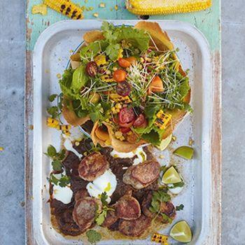 Jamie Oliver jerk pork, grilled corn & crunchy tortilla salad  maybe try with dark chicken...