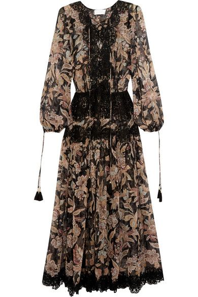 ZIMMERMANN Alchemy Lace-Paneled Printed Silk-Georgette Dress. #zimmermann #cloth #beachwear
