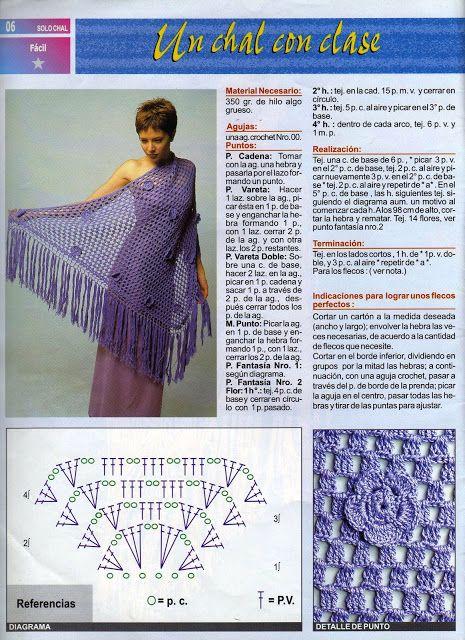 Patron Crochet Chal con Clase - Patrones Crochet