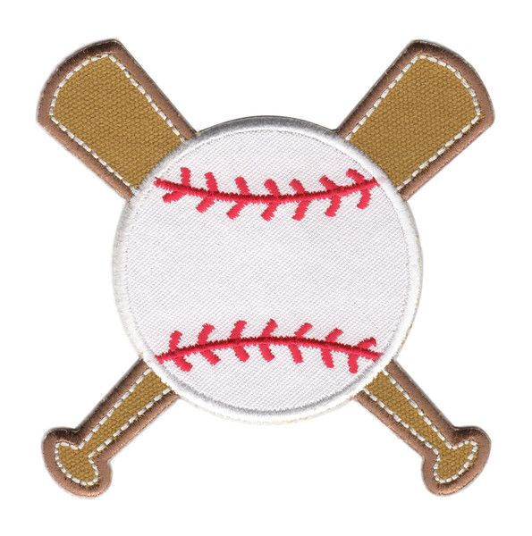 "Baseball & Bats Iron-Iron-On Applique Patch - Size: 4"" x 4"" (10 x 10 cm) - $5.49"