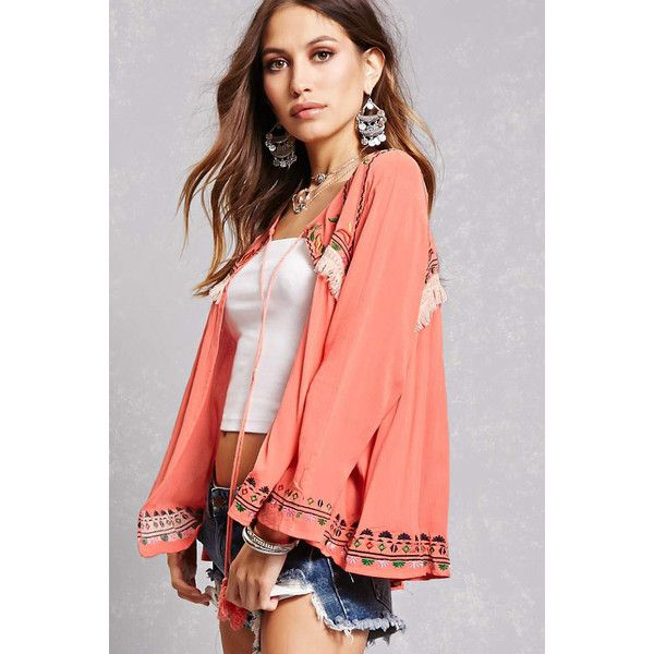Forever21 Embroidered Fringe Cardigan (180 SAR) ❤ liked on Polyvore featuring tops, cardigans, coral, embroidered top, fringe cardigans, long sleeve tops, long sleeve fringe top and embroidered cardigan