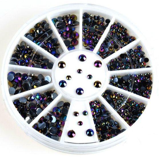 BARU 300 Pcsd Nail Dekorasi Acrylic Supplies Nail Gel Tips Charms + Roda Nail Beads DIY Grosir