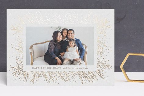 """""""Amazing Frame"""" - Foil-pressed Holiday Cards in Gold by Phrosne Ras."""