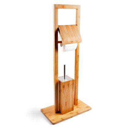 Relaxdays 10017160 WC Garnitur Bambus mit Toilettenbürste und Rollenhalter