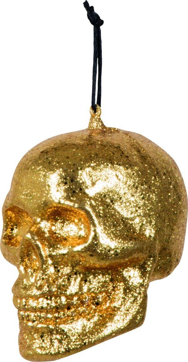 Decorazione da appendere teschio dorato Halloween-Dia de los Muertos: perfetto per un allestimento di halloween all'insegna dell'originalità e dell'ironia!
