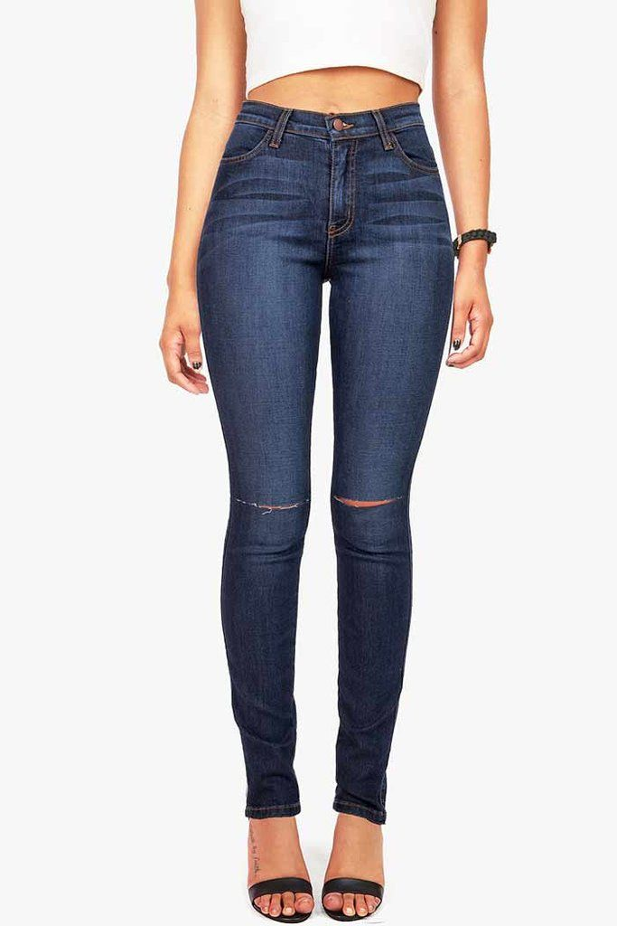 High rise skinny jeans in a dark denim wash with smooth straight cuts across the knees. Traditional front and back pockets and zip fly and button closure. *Machine Wash Cold *73% Cotton 14% Rayon 11%