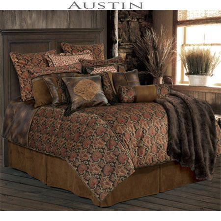 Austin #Southwestern #Bedding ~ features an rich printed velvet comforter in soft hues of rose and taupe with rich piping. A chocolate brown micro suede is featured on the bedskirt, pieced pillow shams, neckroll pillow and back of the print euro shams with distressed faux leather accents. highlights completing the elegant #southwestern #decorating #style. #BeddingNMore #Southwestern #Home #Decor