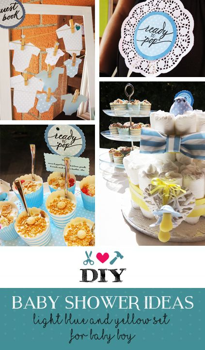 DIY Baby shower ideas - light blue and yellow for baby boy - diapers cake - guestbook - decors - garlands - catering - games