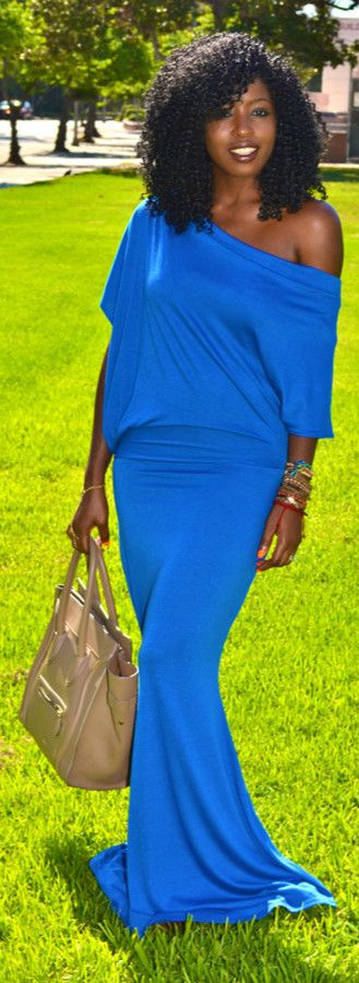 Electric Blue Off Shoulder Maxi Dress...I can guarantee I will have either this dress or its first cousin THIS summer! Mission is on! :-)