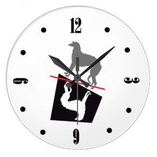 Lévrier écossais grande horloge ronde