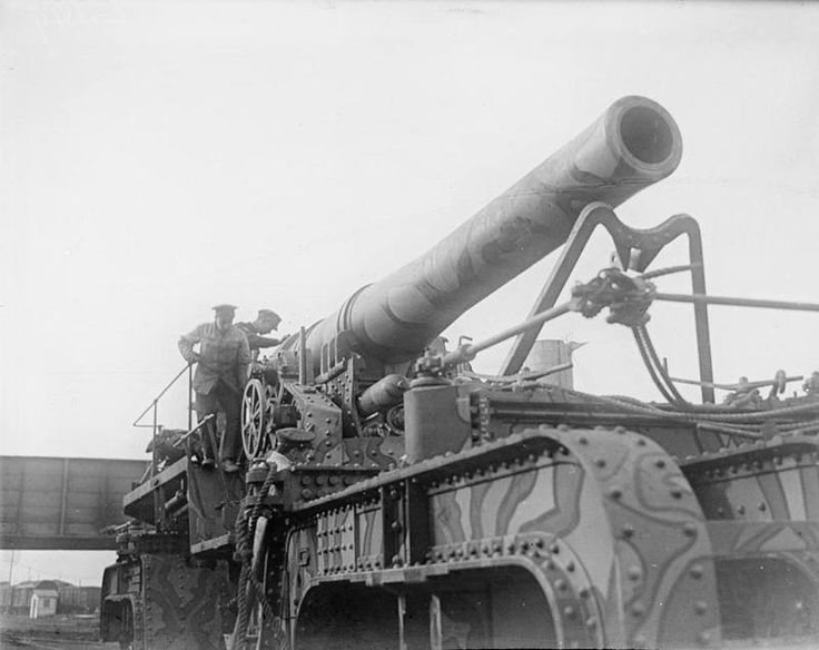 12 inch howitzer on railway mounting near Arras, 4 February 1918.