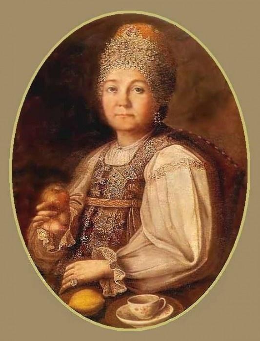 """Портрет купчихи Гундаревой"" -portrait of woman merchant Gundareva . unknown artist"