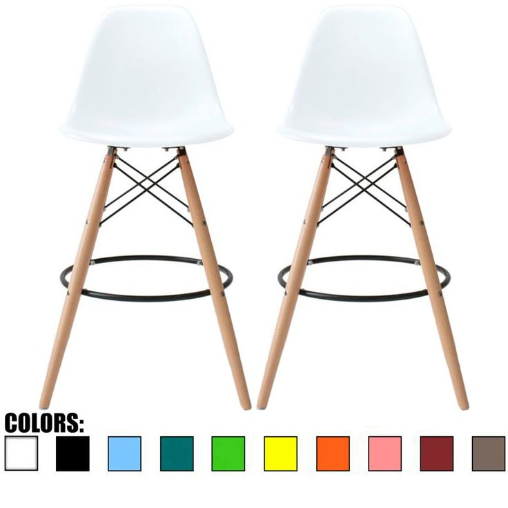 "2xhome - Set of Two (2) - White - 25"" Seat Height Eames Stool Eames Chair Style DSW Molded Plastic Bar Stool Modern Barstool Counter Stools with backs and armless Natural Legs Wood Eiffel Legs"