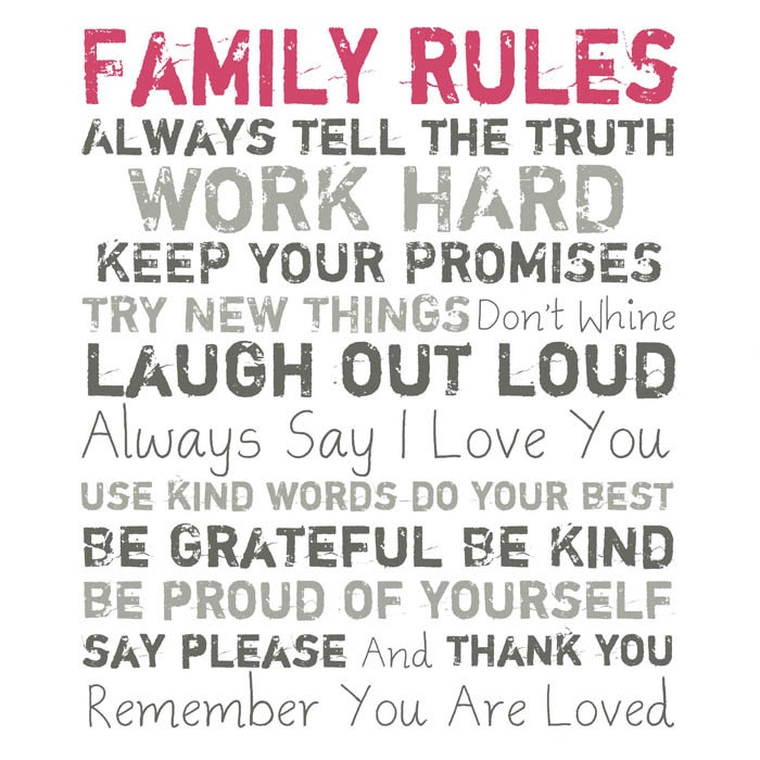 Pink Family Rules Wall Art