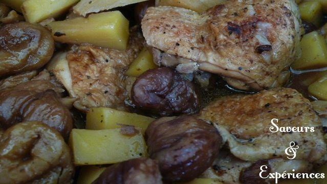 Poulet sauté, fruit à pain et châtaignes !  Une alliance parfaite, saveurs de France et de Maurice qui se complètent à merveille.