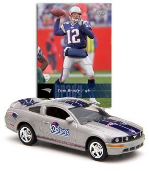 Ford Mustang New England Patriots Nfl Record Holder Tom Brady  https://allstarsportsfan.com/product/ford-mustang-new-england-patriots-nfl-record-holder-tom-brady/  Vehicle is approximately 3 inches long Features logo of NFL team the New England Patriots Includes Tom Brady card