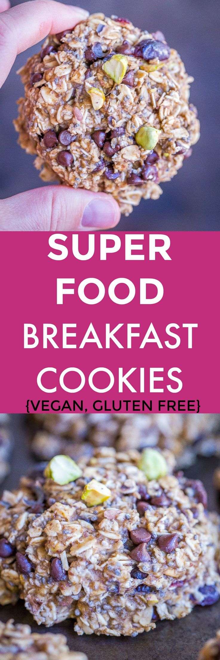 Superfood Breakfast Cookies - These easy make ahead breakfast cookies are packed with lots of healthy superfoods!  Make a batch and have them on hand for an easy breakfast or snack all week long!  #Glutenfree #Vegan #Healthy #MealPrep #Breakfast