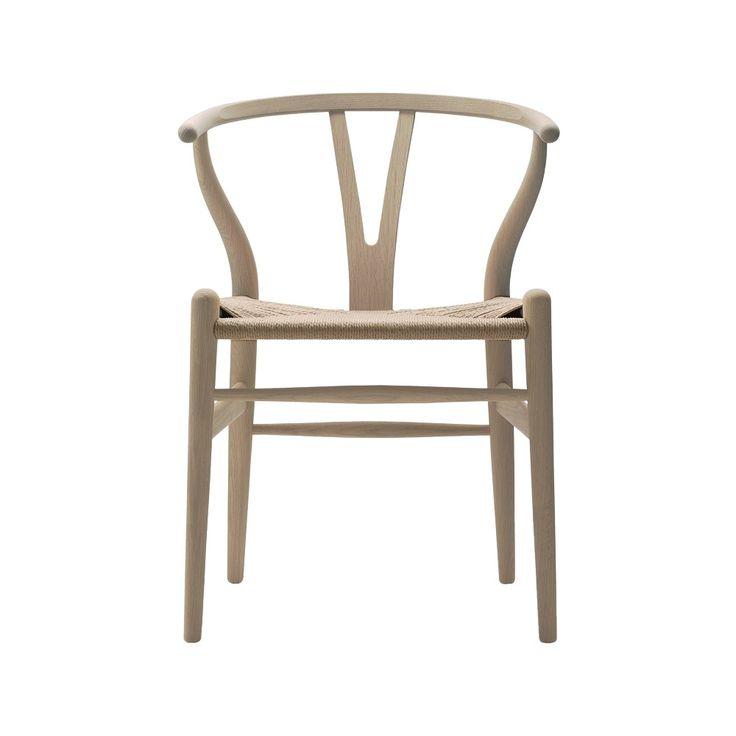 CH24 stol - vitoljad ek med naturflätad sits