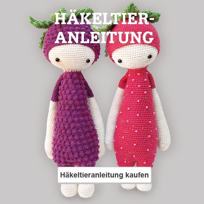 Häkelanleitung: Erna und Bert Häkeltiere als Brommbeere und Erdbeere häkeln