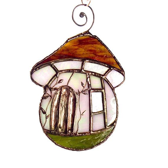 Gnome Mushroom House Suncatcher Stained Glass by recircles9, $53.00