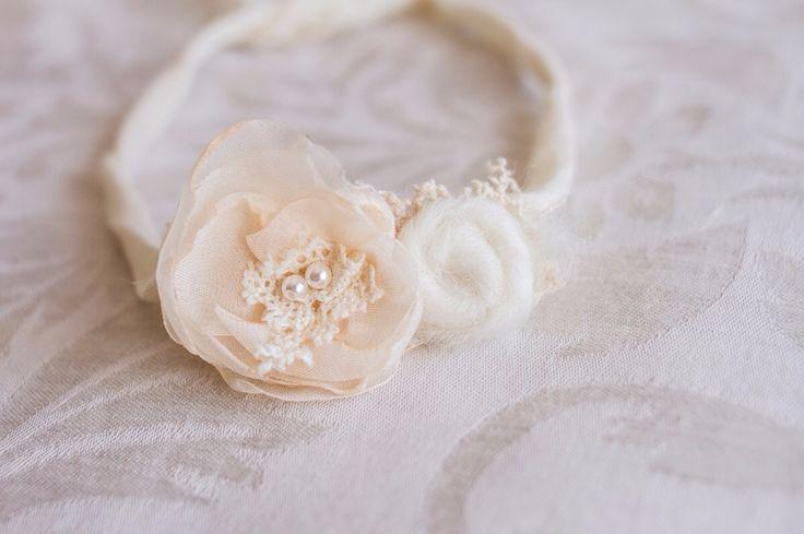 Organic handmade flower tieback