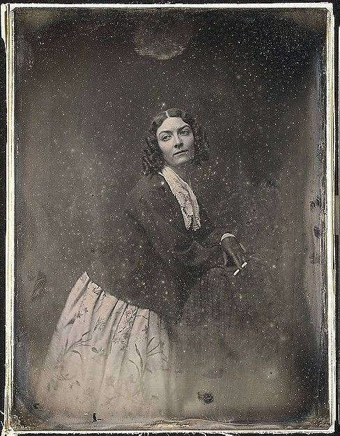Lola Montez...that little Irish hussy! I've seen other daguerreotypes of women smoking pipes, but never a cigarette! A pipe was bumpkinish, but not scandalous. In the early 1850s men considered cigarettes immature and effeminate. They were for boys and bold (loose) women. Once again Lola is promoting a daring image.