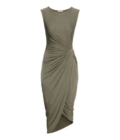 Olive green draped dress. #PARTYINHM