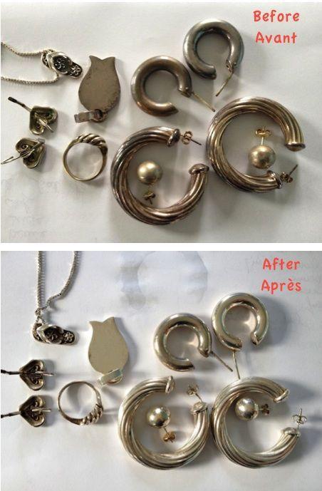 *** Voici une idée brillante pour nettoyer vos bijoux en argent  ***     J'ai testé cette recette trouvée sur Pinterest   voici le résult...