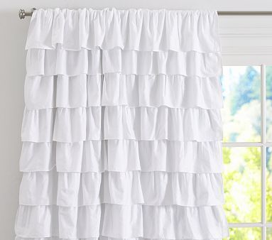 I love the Ruffle Blackout Panel on potterybarnkids.com- so cute! I wonder if I could use this for a shower curtian?