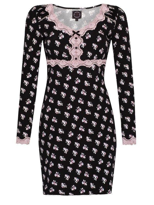 Vive Maria My English Rose Nachthemd schwarz allover-Druck Damen Wäschesets, Pyjamas & Nachtwäsche night dress black pink rose floral print bloemenprint roze zwart nacht jurk